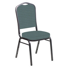 Embroidered Crown Back Banquet Chair in Rapture Agean Fabric - Silver Vein Frame