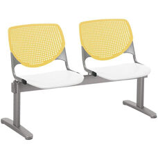 2300 KOOL Series Beam Seating with 2 Poly Yellow Perforated Back Seats and White Seats