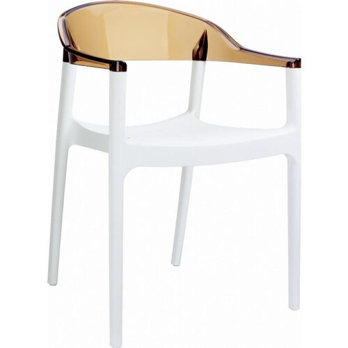 Our Carmen Modern Polypropylene Stackable Dining Arm Chair with Transparent Amber Back - Glossy White is on sale now.