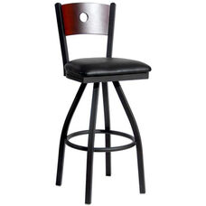 Darby Metal Frame Swivel Barstool - Circle Wood Back and Vinyl Seat