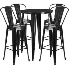 30'' Round Metal Indoor-Outdoor Bar Table Set with 4 Cafe Stools