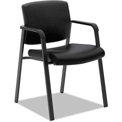 Basyx® VL605 Series Leather Wall-Saver Guest Arm Chair - Matte Black