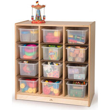 12 Cubby Birch Laminate Storage Cabinet with Natural UV Finish