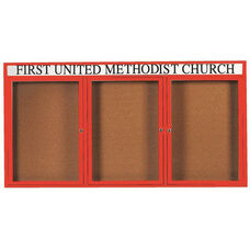3 Door Indoor Illuminated Enclosed Bulletin Board with Header and Red Powder Coated Aluminum Frame - 36