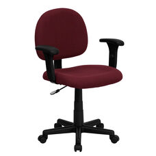 Mid-Back Burgundy Fabric Swivel Task Chair with Adjustable Arms