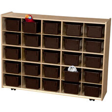 Contender Wooden Tray Storage Unit with 25 Chocolate Plastic Trays - Assembled with Casters - 46.75