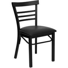 HERCULES Series Black Three-Slat Ladder Back Metal Restaurant Chair - Black Vinyl Seat