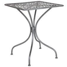 "Agostina Series 23.5"" Square Antique Silver Indoor-Outdoor Steel Patio Table"