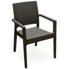 Ibiza Outdoor Wickerlook Resin Stackable Dining Arm Chair - Brown
