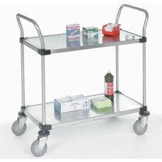 Galvanized 2 Shelf Solid Shelf Cart - 18