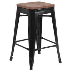 "24"" High Backless Black Metal Counter Height Stool with Square Wood Seat"