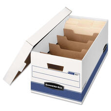 Bankers Box® STOR/FILE Extra Strength Storage Box - Letter - Locking Lid - White/Blue - 12/Carton