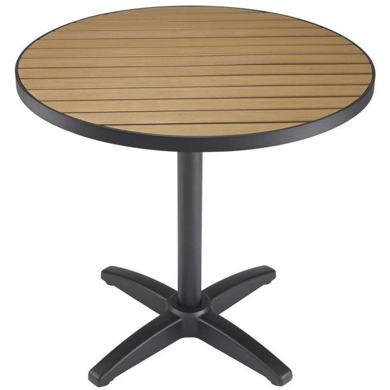 ... Our 48u0027u0027 Round Synthetic Teak Outdoor Top With Black Table Base Is On  Sale