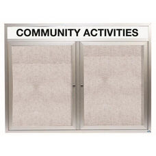 2 Door Outdoor Enclosed Bulletin Board with Header and Aluminum Frame - 48