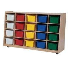 Tip-Me-Not 20 Tray Storage Unit with Twenty Multi-Colored Storage Trays - Assembled - 48