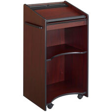 25.25'' W x 46'' H Executive Mobile Lectern with Two Shelves - Mahogany