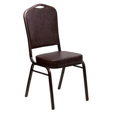 HERCULES Series Crown Back Stacking Banquet Chair in Brown Vinyl - Copper Vein Frame