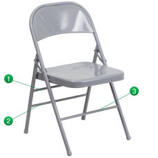HERCULES Series Triple Braced & Double-Hinged Gray Metal Folding Chair