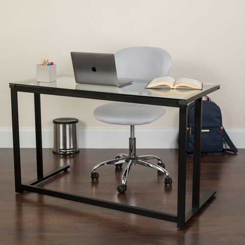 Our Glass Desk with Black Pedestal Metal Frame is on sale now.