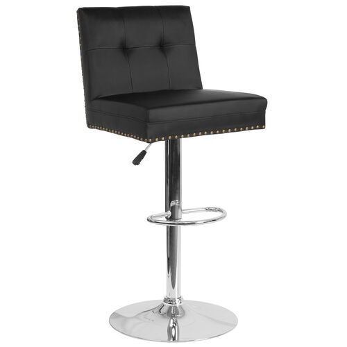Ravello Contemporary Adjustable Height Barstool with Accent Nail Trim in Black LeatherSoft