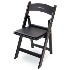 Gala Resin Steel Reinforced Stackable Folding Chair with Padded Seat - Black