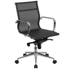 Mid-Back Transparent Black Mesh Executive Swivel Office Chair with Synchro-Tilt Mechanism and Arms