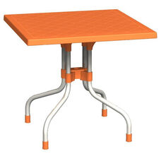 Forza Resin Outdoor Folding 31'' Square Dining Table with Aluminum Legs - Orange