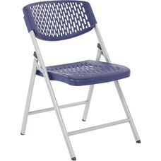 Work Smart Folding Chair with Plastic Ventilated Back and Seat - Set of 4 - Blue
