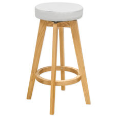 Multi Indoor Purpose Rex Wood Swivel Counter Stool - Natural and White