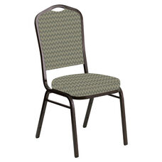 Embroidered Crown Back Banquet Chair in Rapture Tranquil Fabric - Gold Vein Frame