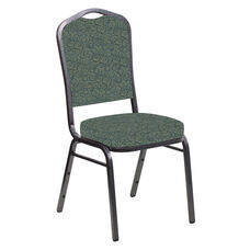 Embroidered Crown Back Banquet Chair in Martini Smokey Fabric - Silver Vein Frame