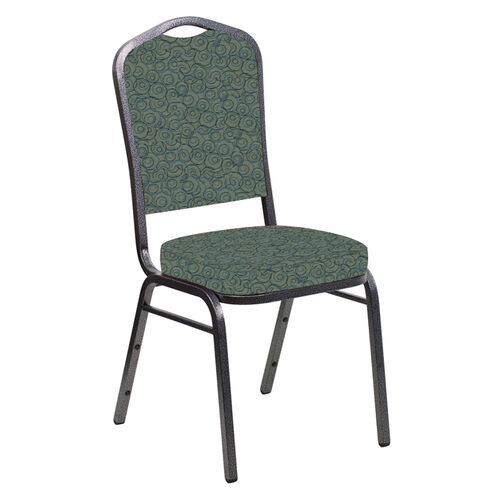 Our Embroidered Crown Back Banquet Chair in Martini Smokey Fabric - Silver Vein Frame is on sale now.