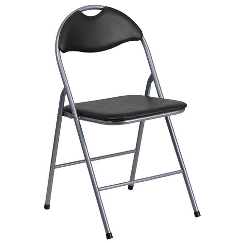 Our HERCULES Series Black Vinyl Metal Folding Chair with Carrying Handle is on sale now.