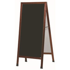 Extra Large A-Frame Sidewalk Board with Black Porcelain Marker Board and Cherry Stain Finished Solid Red Oak Frame - 30