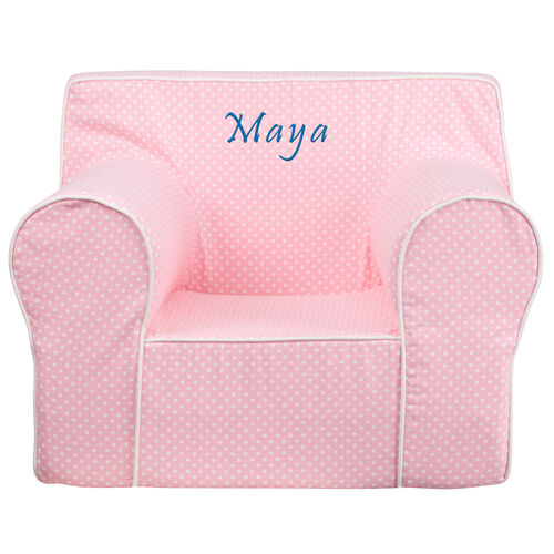 Our Personalized Oversized Light Pink Dot Kids Chair with White Piping is on sale now.