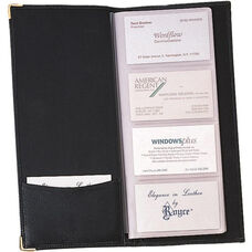 Business Card Case File Organizer with 96 Card Capacity - Top Grain Nappa Leather - Black