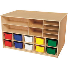 Wooden Versatile Storage Unit with 10 Assorted Plastic Trays - 48