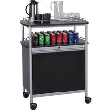 33.5'' W x 21.75'' D x 43'' H Mobile Beverage Cart with Locking Cabinet - Black