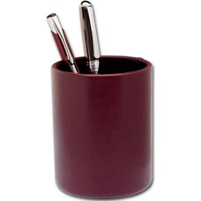 Classic Two Tone Leather Round Pencil Cup - Burgundy and Black