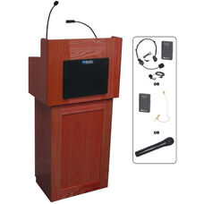 Oxford Two Piece Wireless 50 Watt Sound and Hand Held Mic Lectern - Mahogany Finish - 22