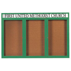 3 Door Indoor Illuminated Enclosed Bulletin Board with Header and Green Powder Coated Aluminum Frame - 48