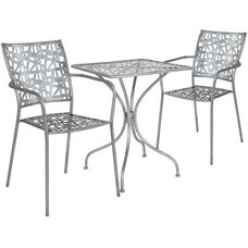 "Agostina Series 23.5"" Square Antique Silver Indoor-Outdoor Steel Patio Table with 2 Stack Chairs"