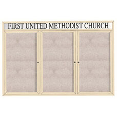 3 Door Outdoor Enclosed Bulletin Board with Header and Ivory Powder Coated Aluminum Frame - 48