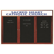 3 Door Enclosed Changeable Letter Board with Header and Cherry Finish - 48