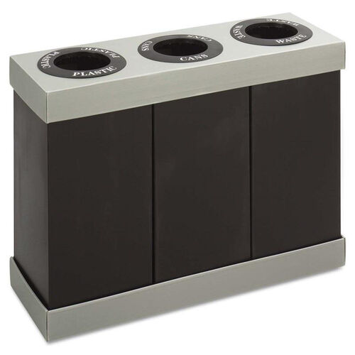 Our Safco® At-Your-Disposal Recycling Center - Polyethylene - Three 28gal Bins - Black is on sale now.