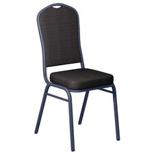 Embroidered Biltmore Ironside Fabric Upholstered Crown Back Banquet Chair - Silver Vein Frame