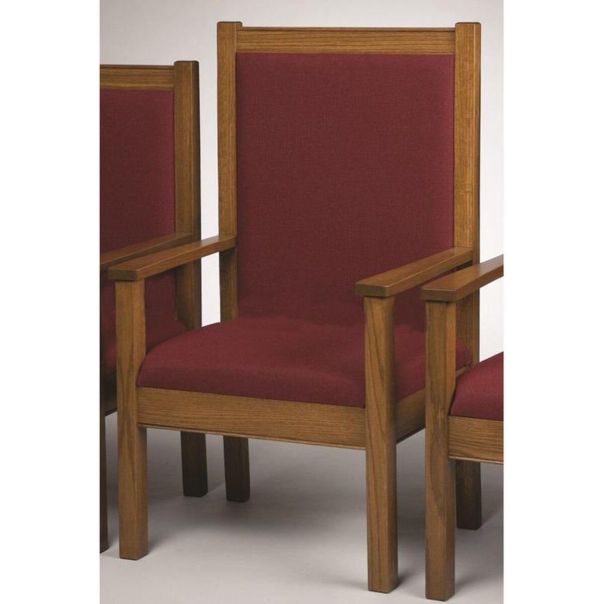Stained Red Oak Upholstered Center Pulpit Chair