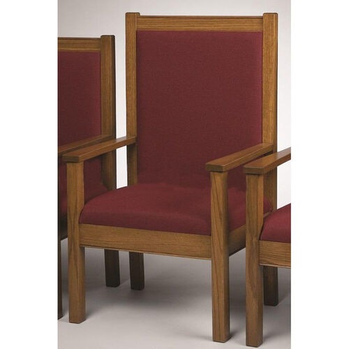 Our Stained Red Oak Upholstered Center Pulpit Chair is on sale now.