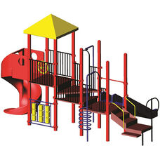 Galvanized Steel Tube Constructed Richard Mega Series Play Center with Thermoplastic Coated Punch Steel Decks - 156