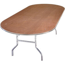Standard Series Race Track Banquet Table with Plywood Top - 96''D x 36''W x 30''H